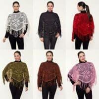 Womens Italian Crochet Poncho Shawl